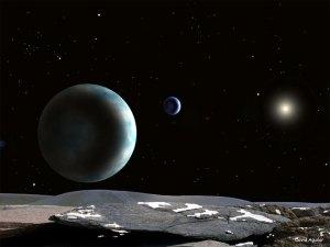 Plutão e Caronte vistos da sua pequena lua hydra, créditos da imagem de David Aguilar